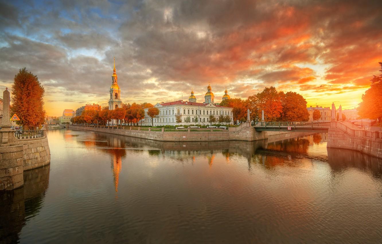 Photo wallpaper autumn, the sky, sunset, bridge, Saint Petersburg, channel, Gordeev Edward