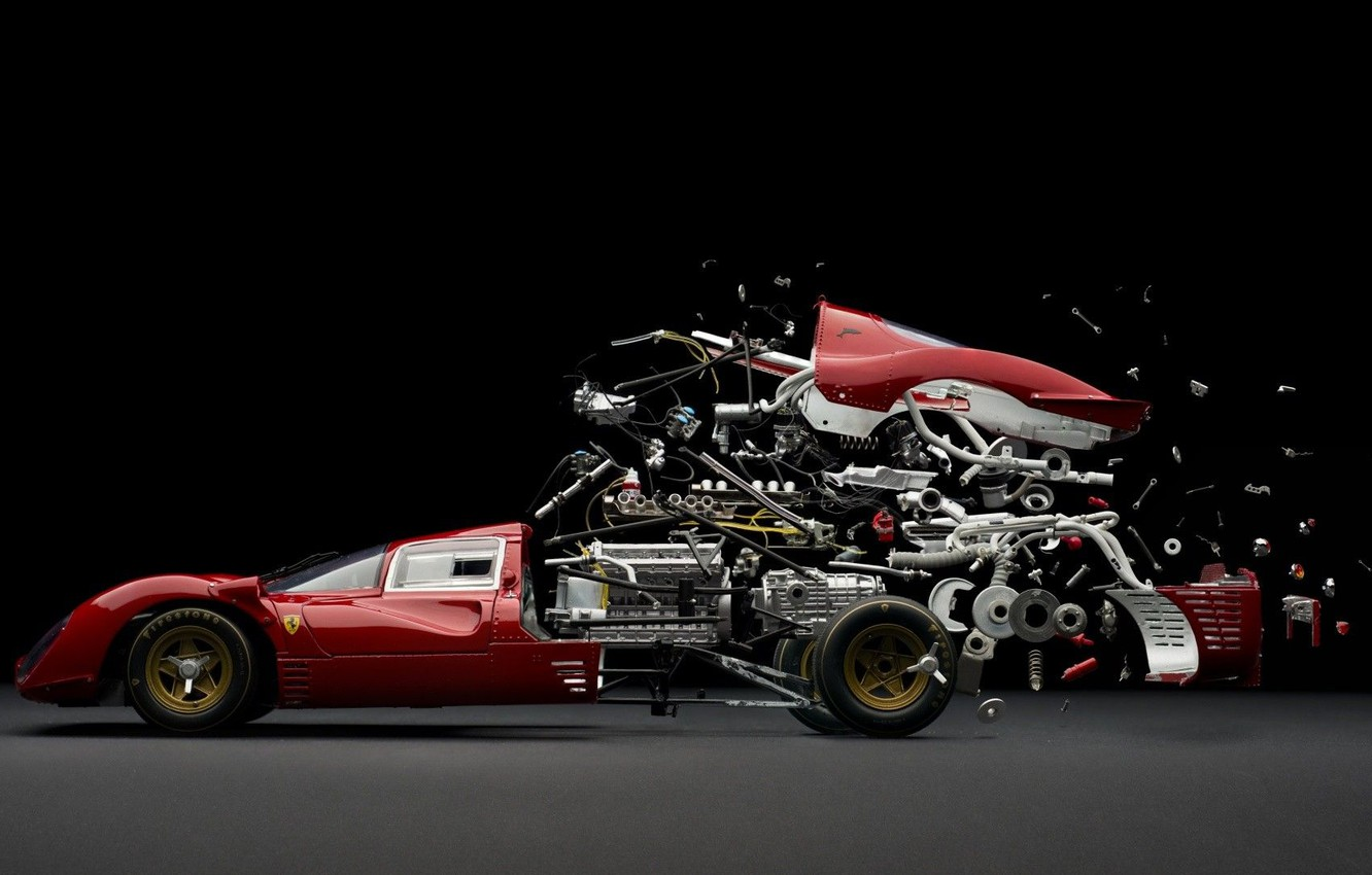 Photo wallpaper the explosion, engine, case, details, vintage, racing, wheel, suspension, spare parts, analysis
