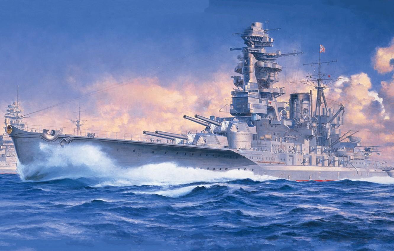 Photo wallpaper ship of the line, Nagato, IJN Battleship Nagato 1941, The lead ship of the eponymous …