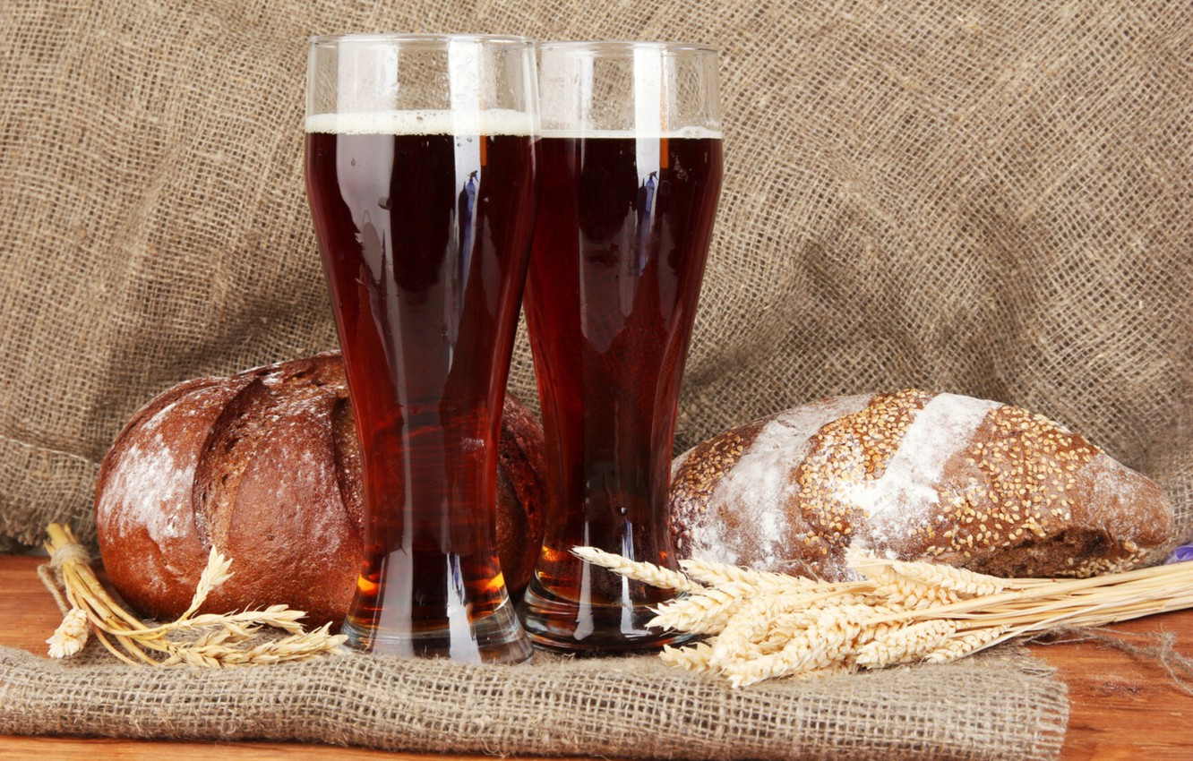 Photo wallpaper spikelets, glasses, bread, brew