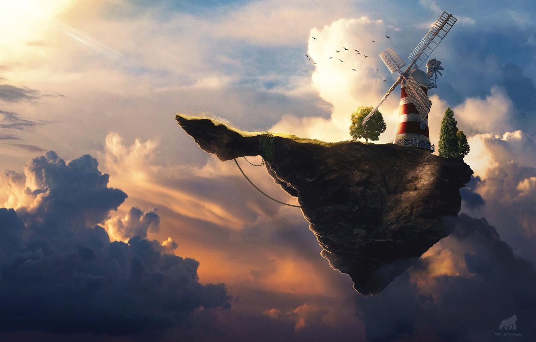 Wallpaper The Sky Clouds Music Mill Rock Sky Art Music