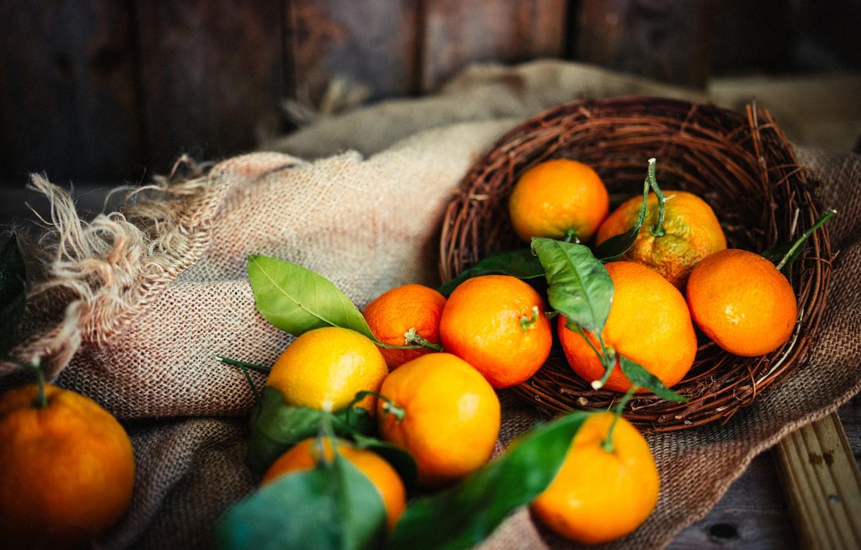 Photo wallpaper leaves, Board, fabric, basket, citrus, burlap, tangerines
