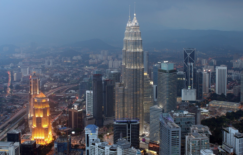 Photo wallpaper the city, fog, mediocrity, building, Malaysia, Kuala Lumpur