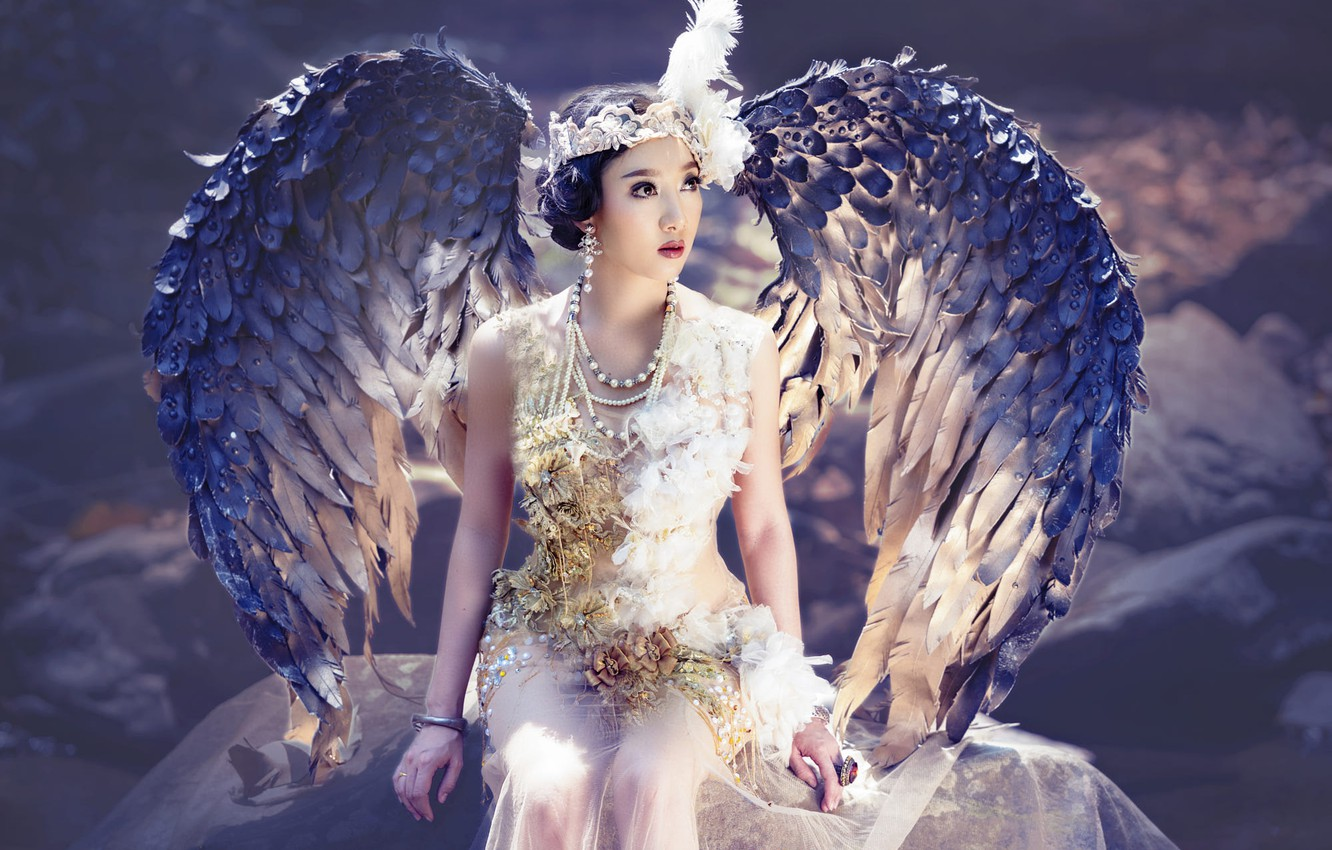Photo wallpaper look, girl, light, decoration, face, pose, style, background, bird, wings, angel, makeup, brunette, fairy, costume, …