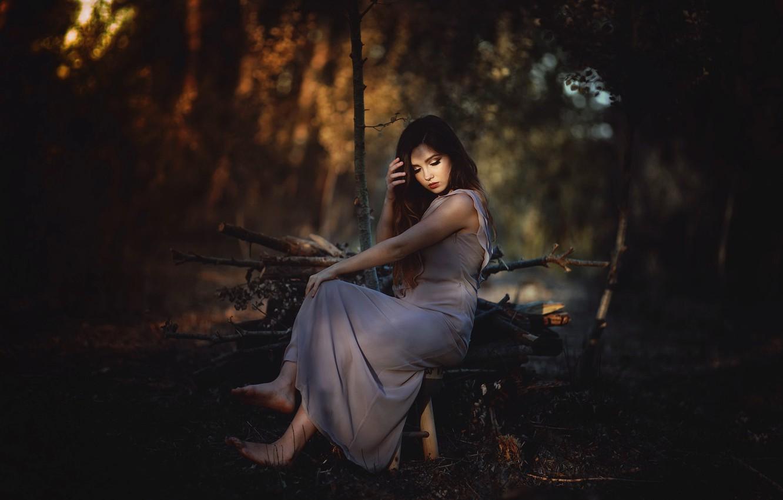 Photo wallpaper girl, nature, Laulights