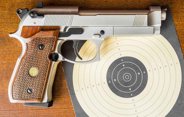 Photo wallpaper close-up, gun, target
