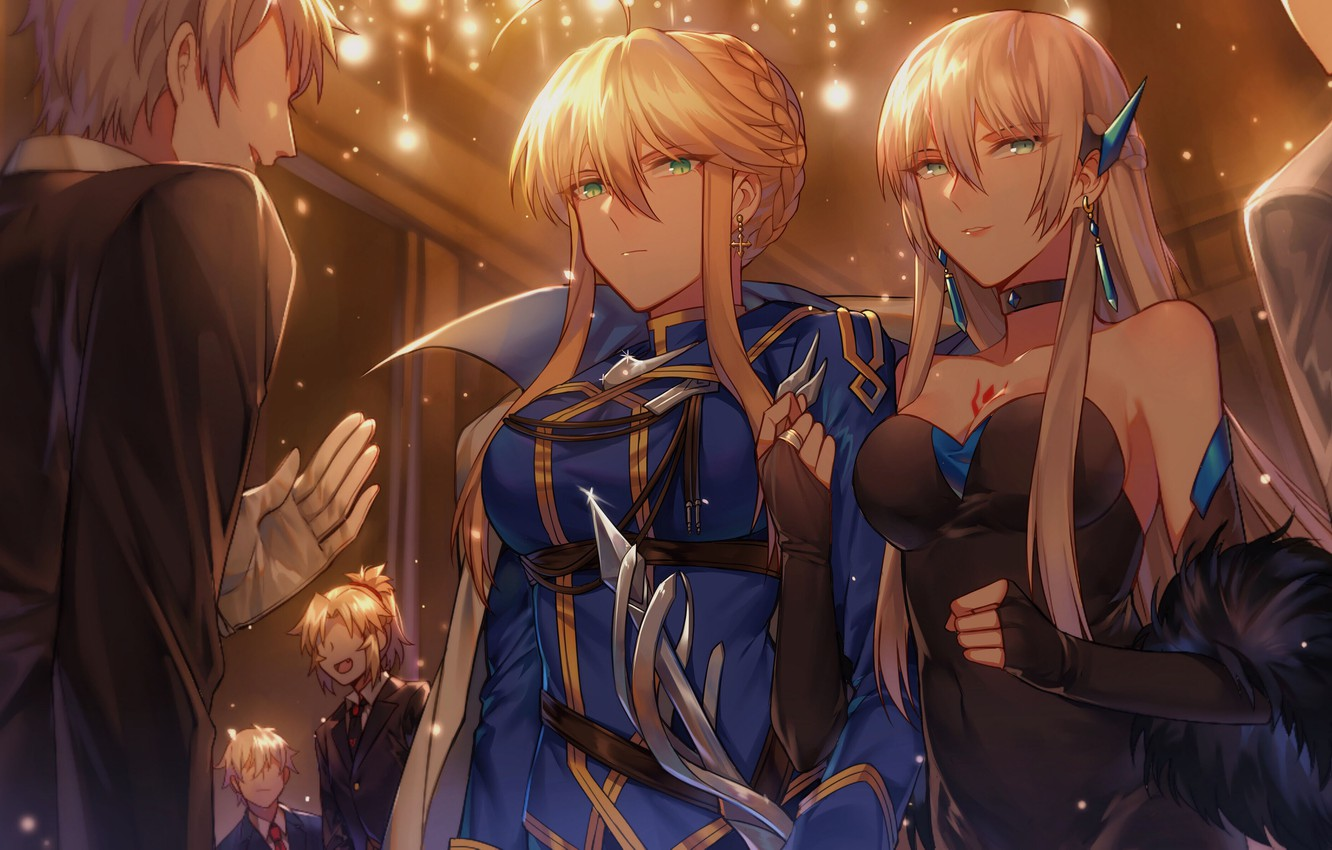 Photo wallpaper Lancer, girl, cleavage, green eyes, breast, anime, tattoo, blonde, chest, anime girls, Fate/Grand Order, Fate/Apocrypha, …