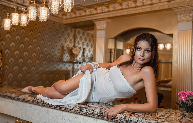 Photo wallpaper legs, brunette, pose, white dress, heels, A Diakov George