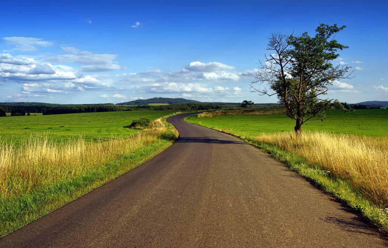 Photo wallpaper road, landscape, field