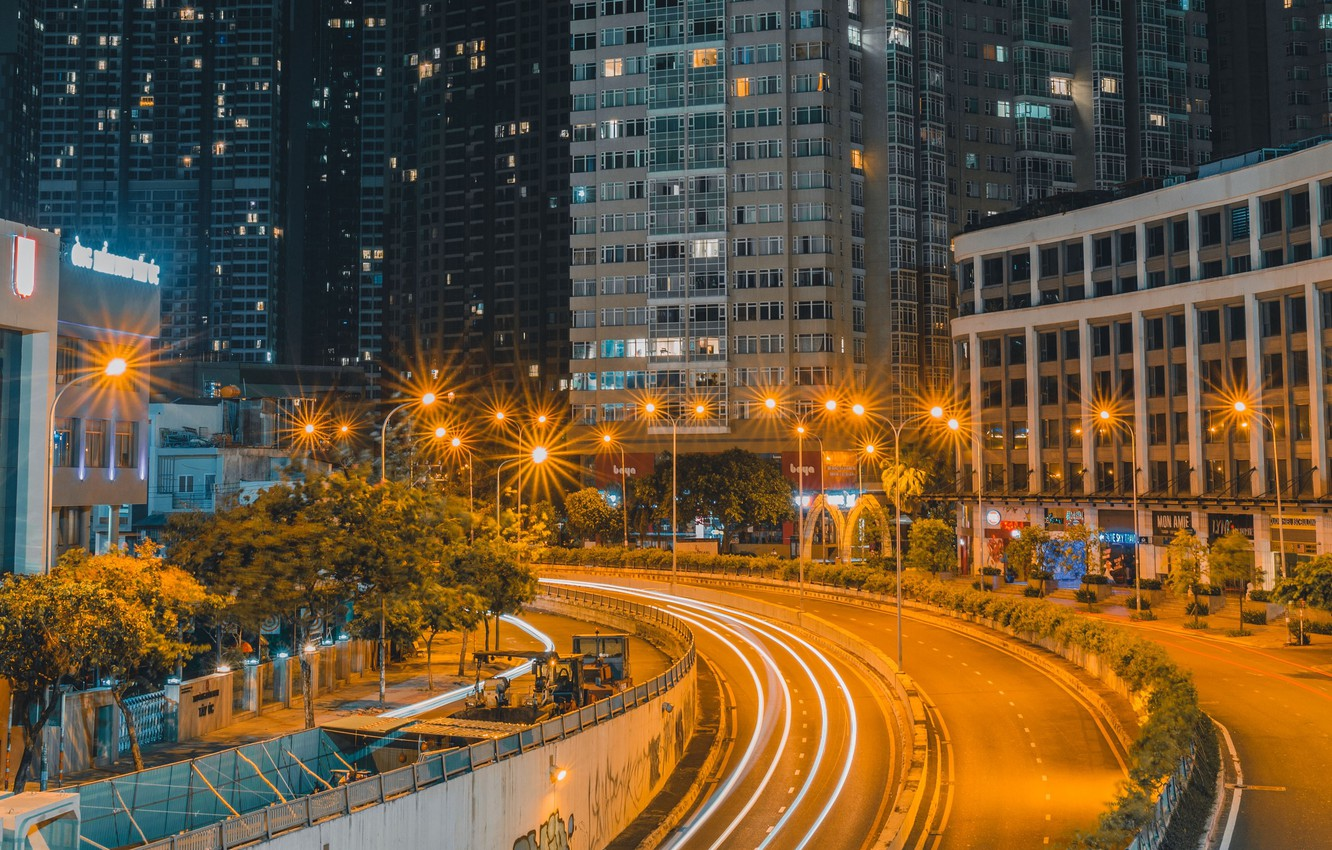 Photo wallpaper road, night, the city, lights, home