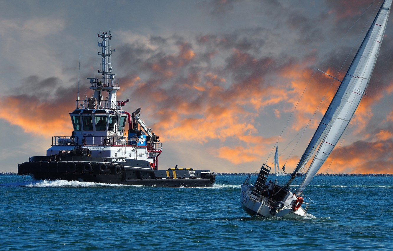 Photo wallpaper sea, the situation, tug, yacht, roll