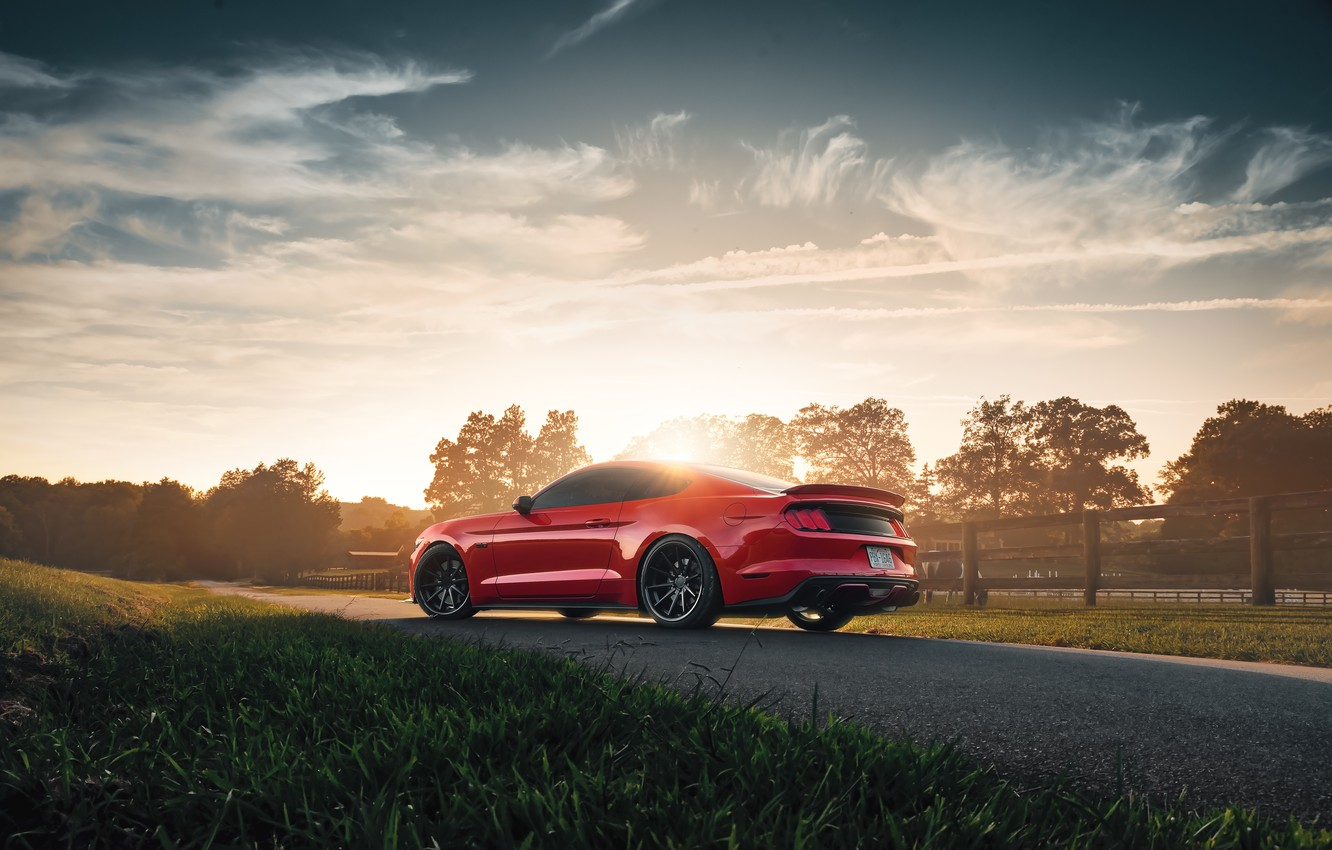 Photo wallpaper sunset, Mustang, Ford, 2018, Mustang GT, by Jimmy Zhang