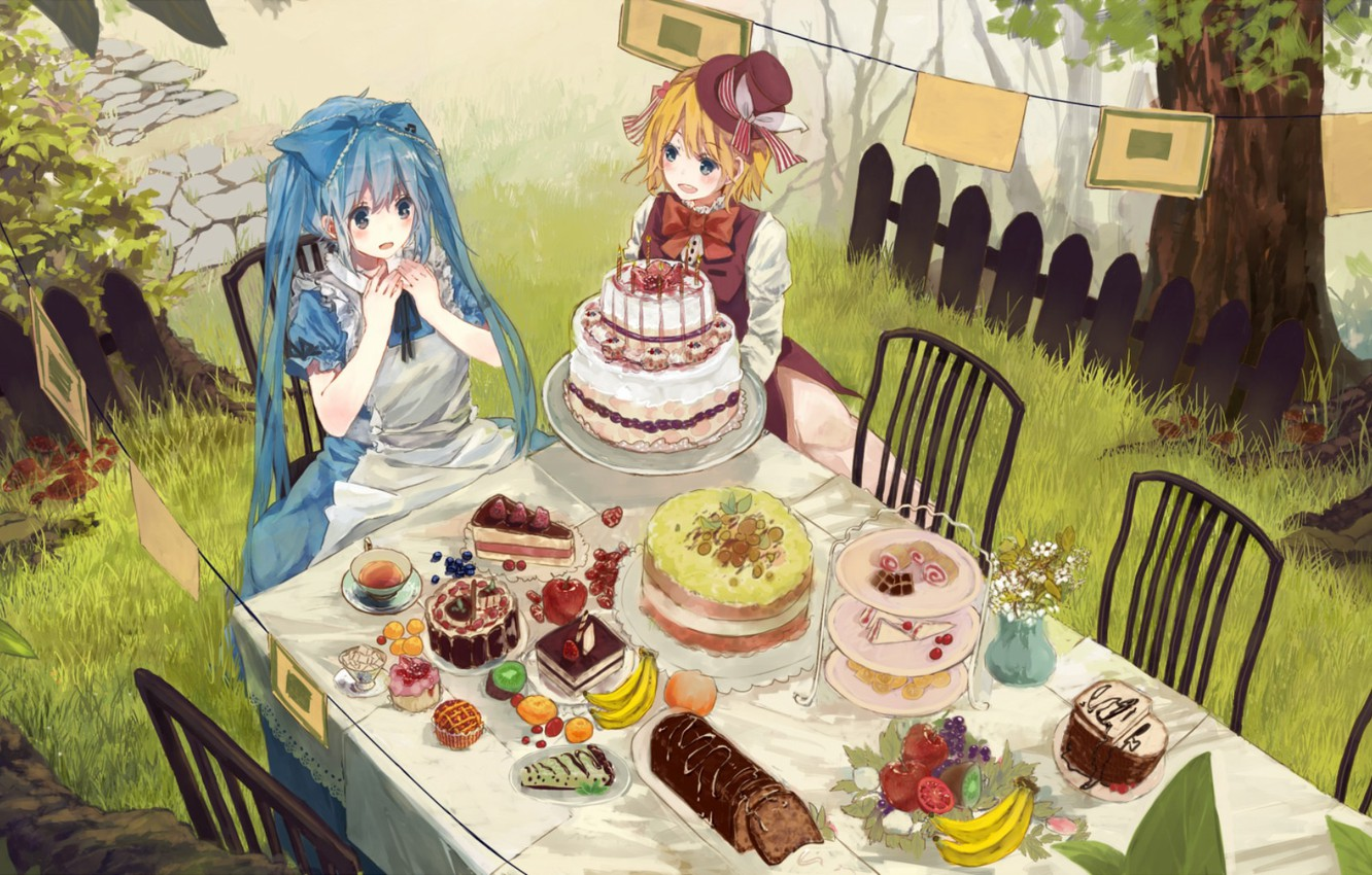 Photo wallpaper table, the fence, chairs, surprise, the tea party, bananas, sweets, cake, hat, vocaloid, Hatsune Miku, ...