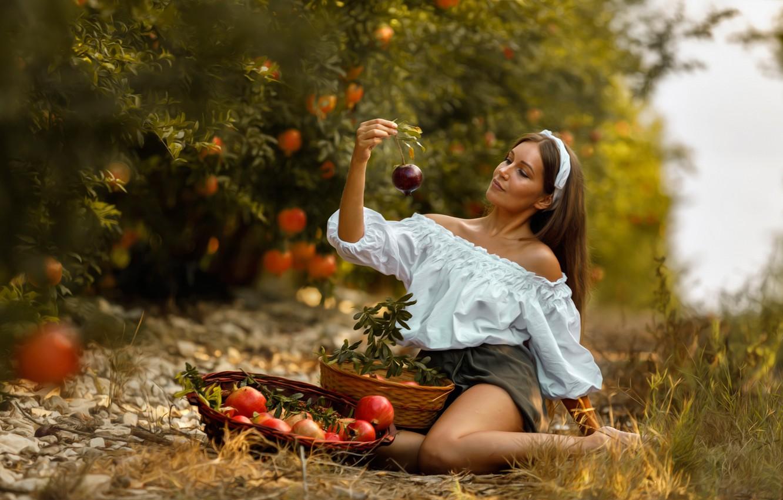 Photo wallpaper girl, trees, pose, mood, garden, blouse, grenades, basket, Mariia, Alex Darash, Mary Moselle