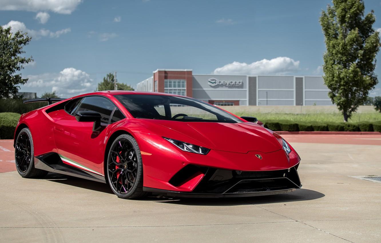 Photo wallpaper Lamborghini, Red, Performante, Huracan