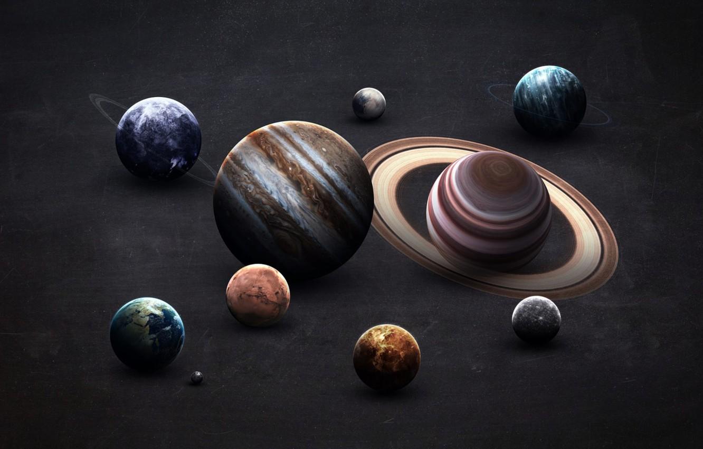 Photo wallpaper Saturn, The moon, Earth, Planet, Moon, Mars, Jupiter, Neptune, Mercury, Venus, Planets, Saturn, Earth, Uranium, …