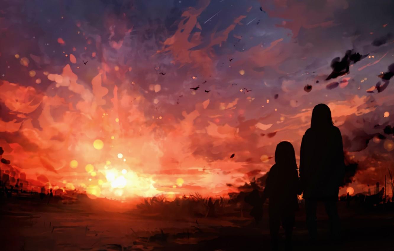 Photo wallpaper sunset, nature, woman, girl