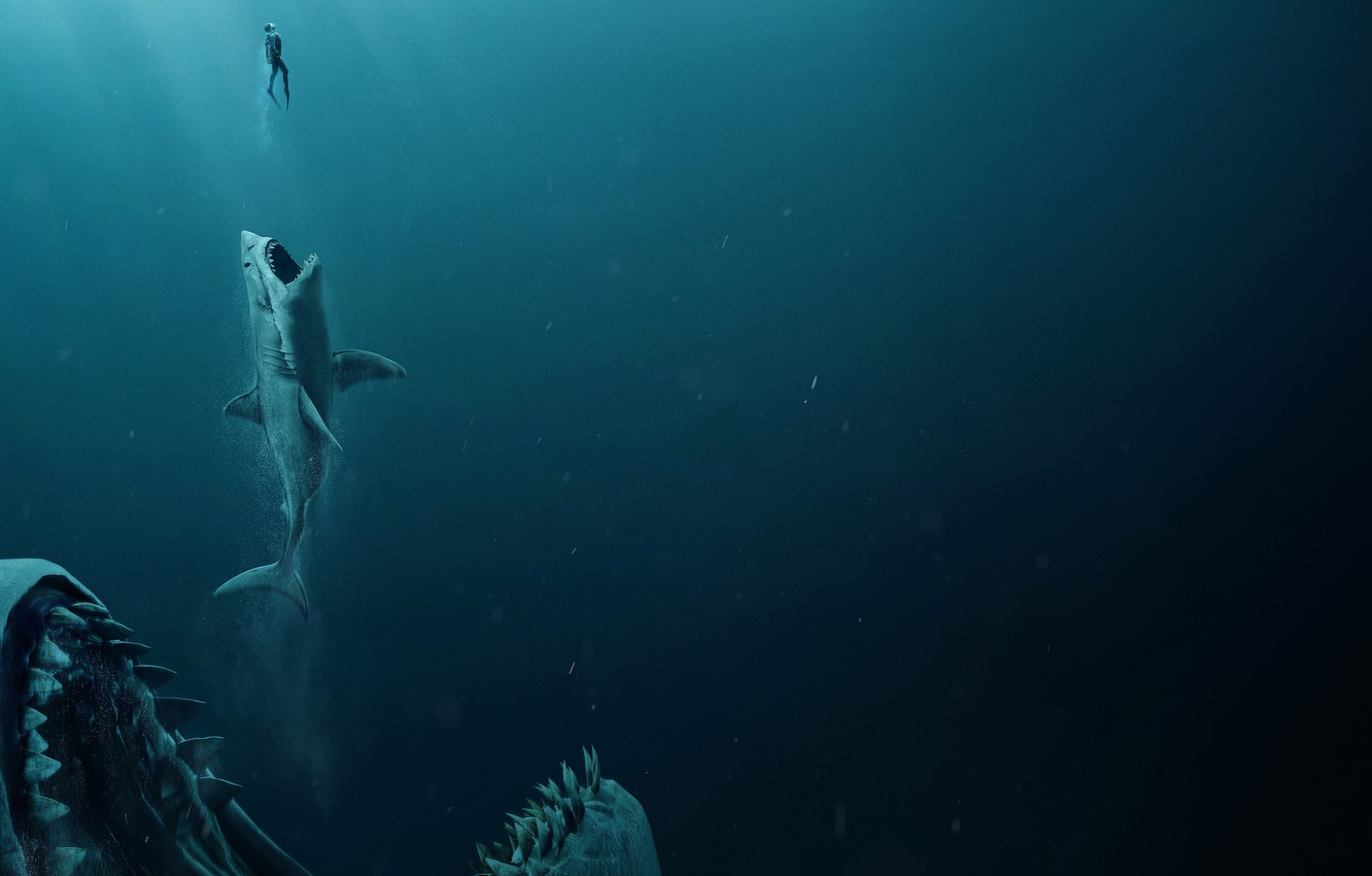 Photo wallpaper man, shark, jaws, The meg, Megalodon