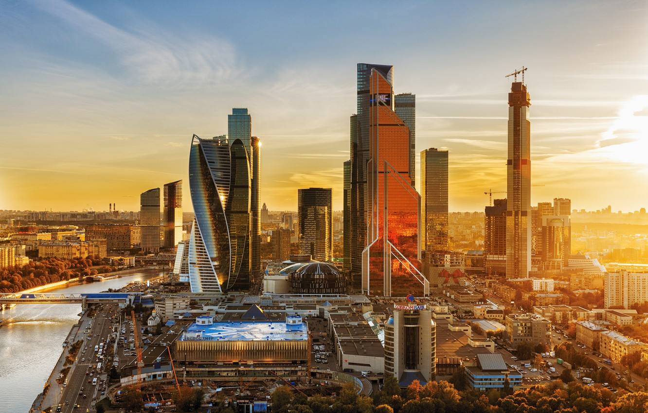 Photo wallpaper autumn, sunset, the city, river, building, home, Moscow, skyscrapers, megapolis, Moscow-City, business center