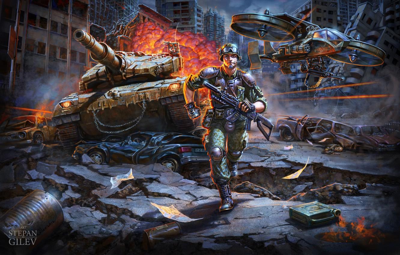 Photo wallpaper the city, fire, warrior, battle, Stepan Gilev, War / Война