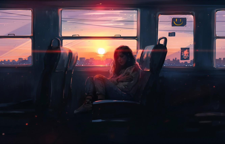 Photo wallpaper girl, the sun, sunset, art, bus, art, Aenami, by Aenami, Alena Aenam The, 2019, by …