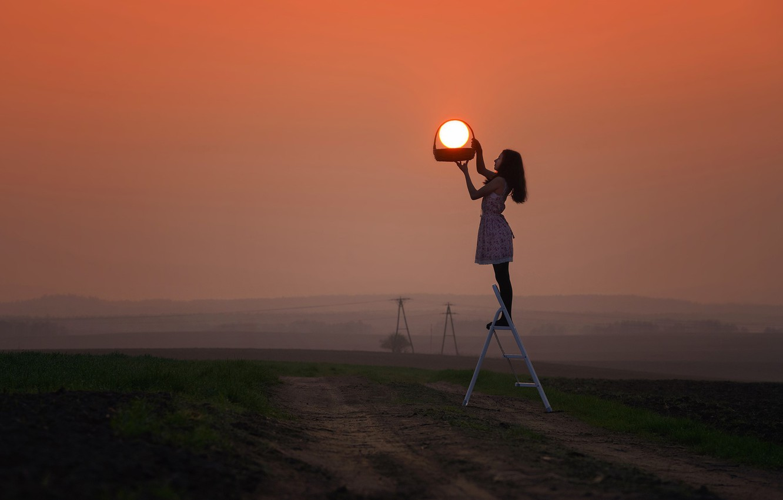 Photo wallpaper girl, grass, twilight, photography, landscape, nature, sunset, photographer, model, sun, dusk, environment, situation, basket, path, …