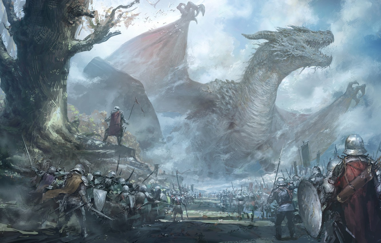 Photo wallpaper weapons, dragon, wings, fantasy, art, warriors