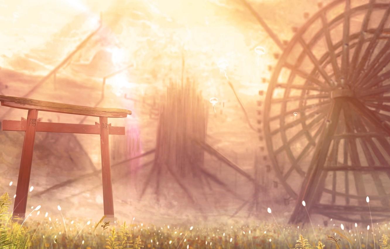 Photo wallpaper nature, Ferris wheel, torii
