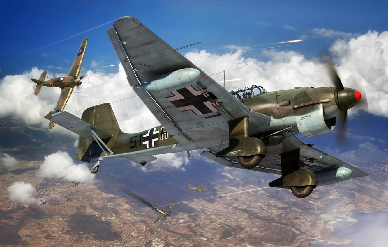 Photo wallpaper Hawker Hurricane, Ju-87, Air force, Dive bomber, Ju.87R-2