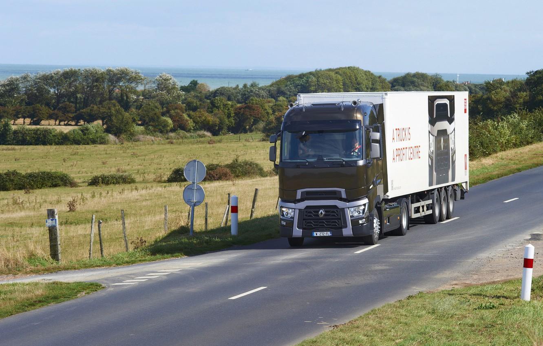 Photo wallpaper road, field, truck, Renault, tractor, Congress, 4x2, the trailer, Renault Trucks, T-series