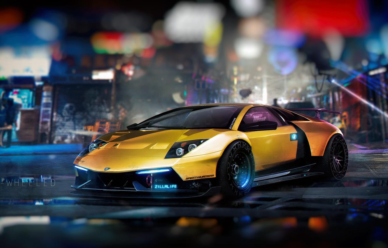 Photo wallpaper Yellow, The city, NFS, Gold, Lambo, Lamborghini Murcielago, Future, Aventador, oldschool, Illustration, Sci-fi, Cyberpunk, Transport …