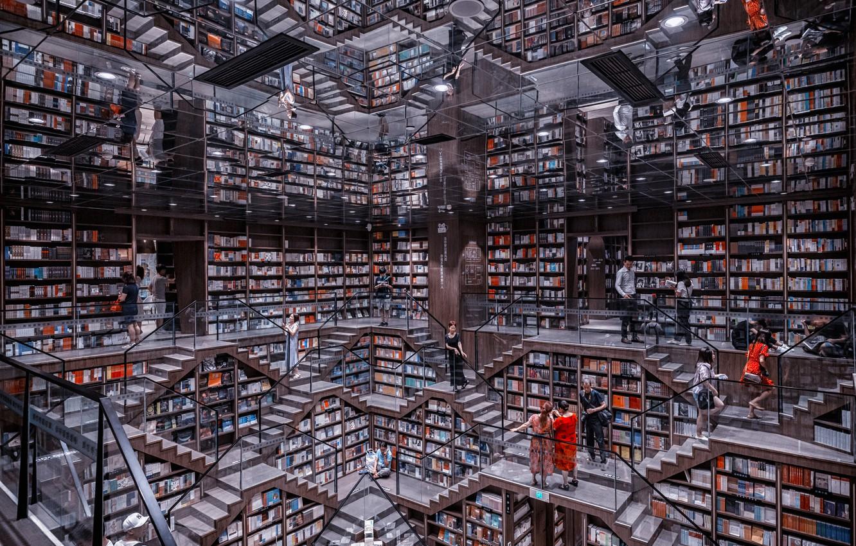 Photo wallpaper books, library, mirror, books, library, mirrors, Prasad Ambati