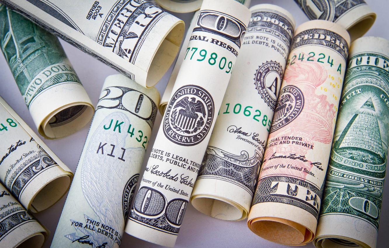 Photo wallpaper Wallpaper, Money, Dollars, Macro, Banknotes