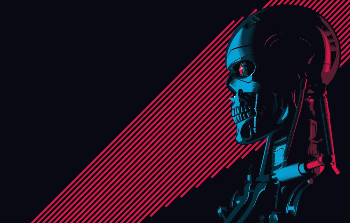 Photo wallpaper Minimalism, Figure, Background, Art, Art, Robot, Terminator, Terminator, T-800, 800, The Terminator, T-800 (CSM 101)