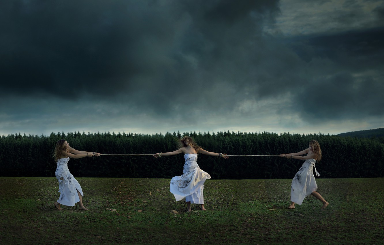 Photo wallpaper Nature, Clouds, Grass, Dirt, Girls, Mood, Forest, Trees, Dress, Rope, Situation, Moods, Dead leaves, Dark …