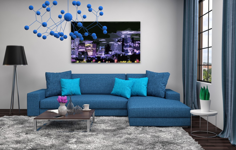 Photo wallpaper design, style, sofa, interior, picture, chandelier, living room, modern