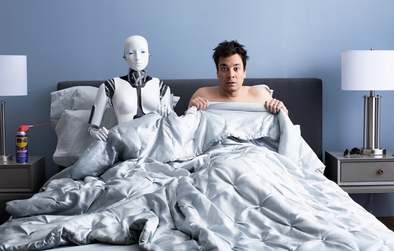 Photo wallpaper bed, robot, the situation, humor, male, bedroom, nightmare
