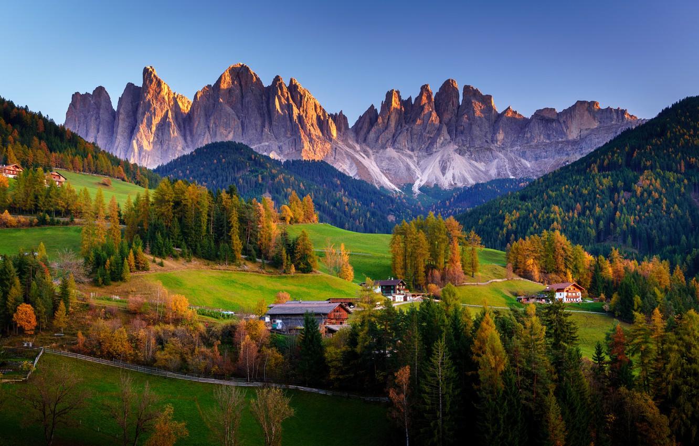 Photo wallpaper autumn, forest, nature, rocks, home, valley, Italy, Italy, The Dolomites, South Tyrol, Dolomites, Santa Maddalena, …
