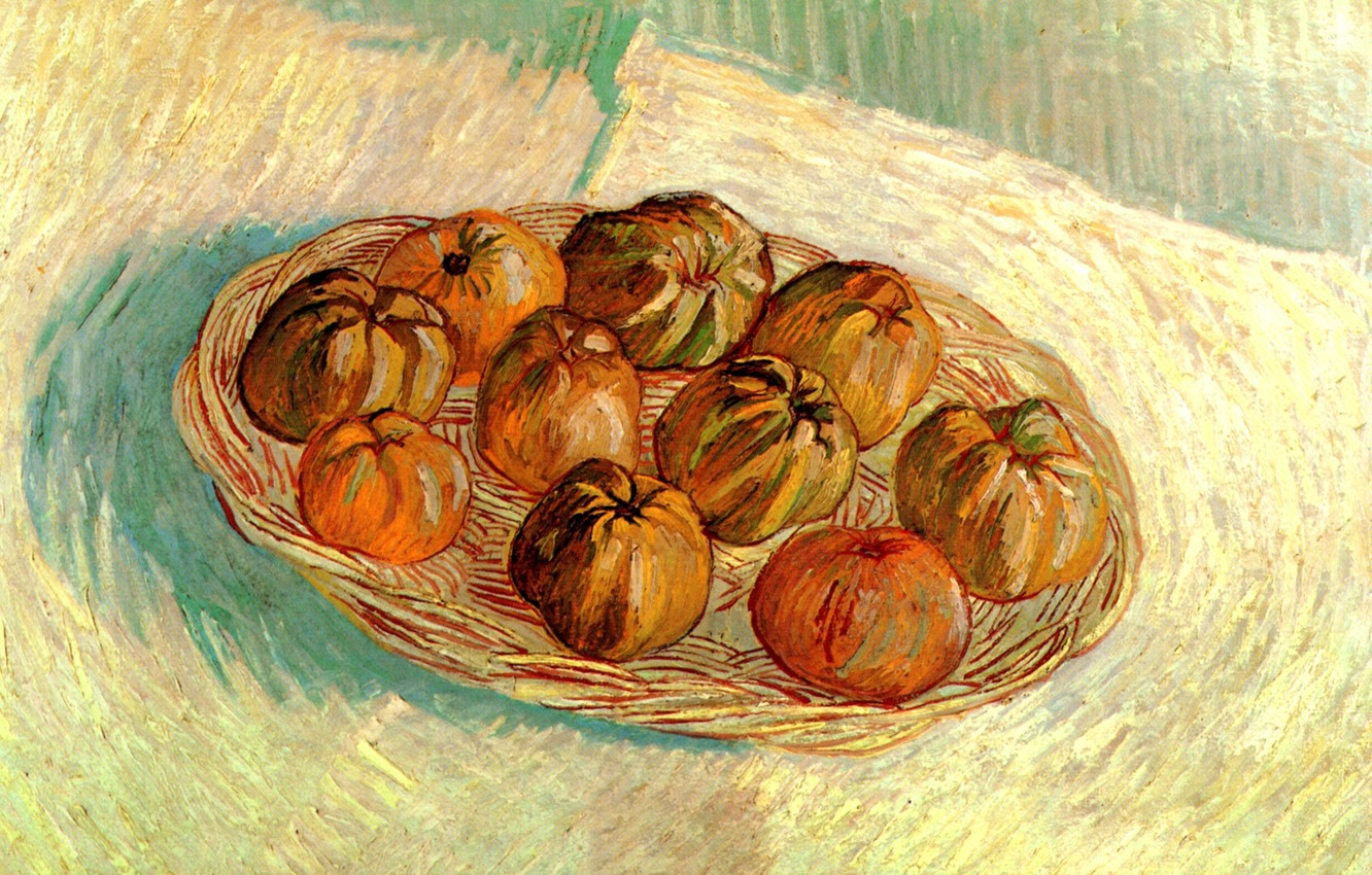 Photo wallpaper Vincent van Gogh, Basket of Apples, to Lucien Pissarro, Still Life with