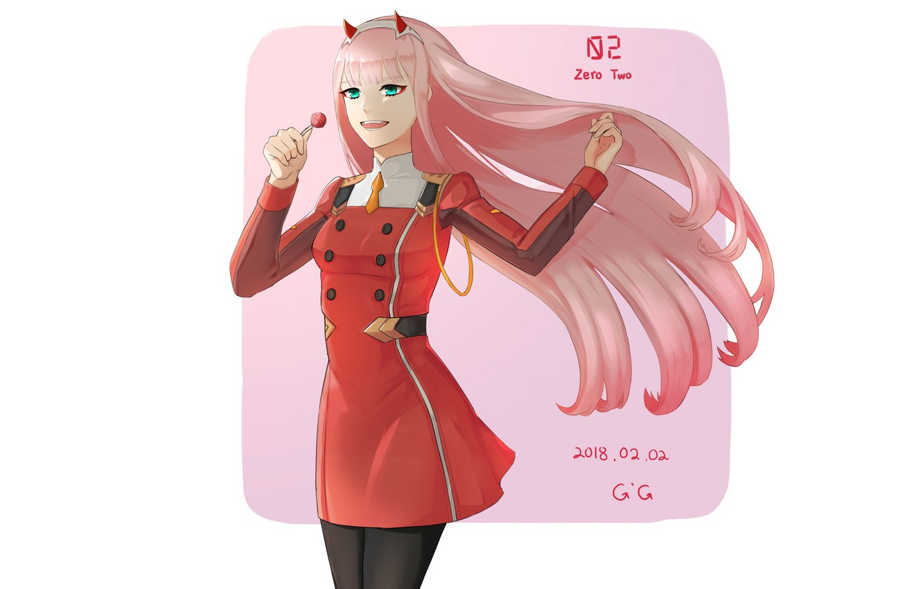 Photo wallpaper girl, smile, 002, Darling In The Frankxx, Cute in France, Zero Two