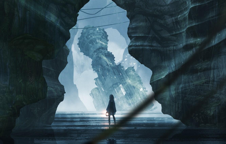 Photo wallpaper girl, castle, rocks