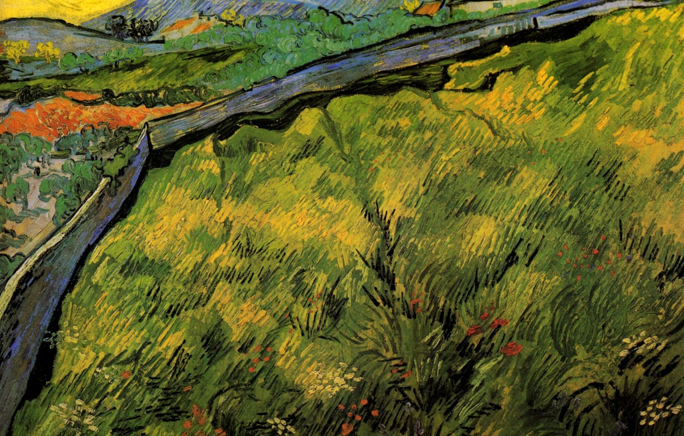 Photo wallpaper road, the sun, Vincent van Gogh, Field of Spring, Wheat at Sunrise