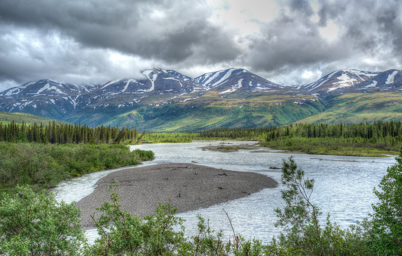 Photo wallpaper greens, mountains, clouds, river