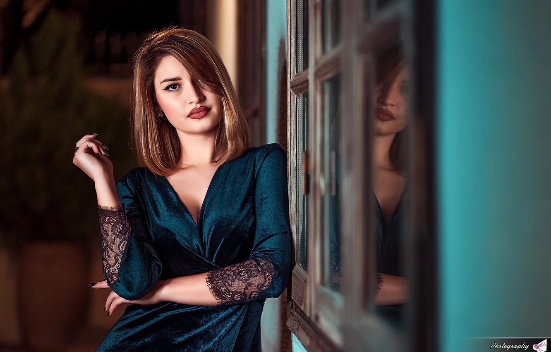 Photo wallpaper look, pose, wall, model, portrait, makeup, dress, hairstyle, brown hair, bokeh