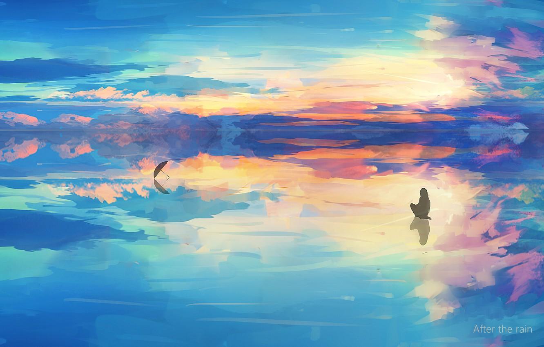 Photo wallpaper ice, the sky, river, people, umbrella