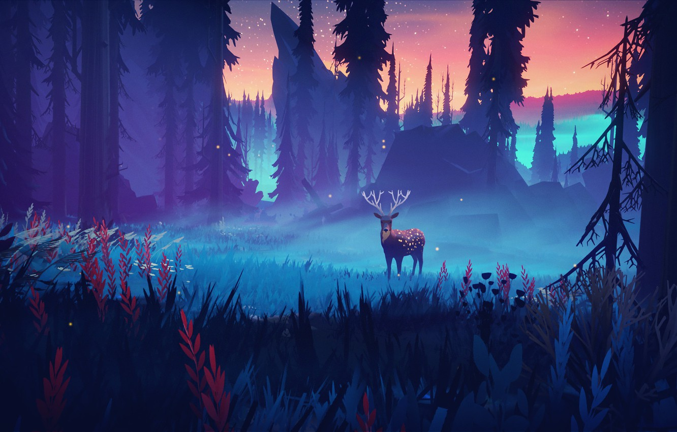 Photo wallpaper grass, horns, sky, trees, nature, night, art, stars, animal, digital art, artwork, deer, Forest, tilight