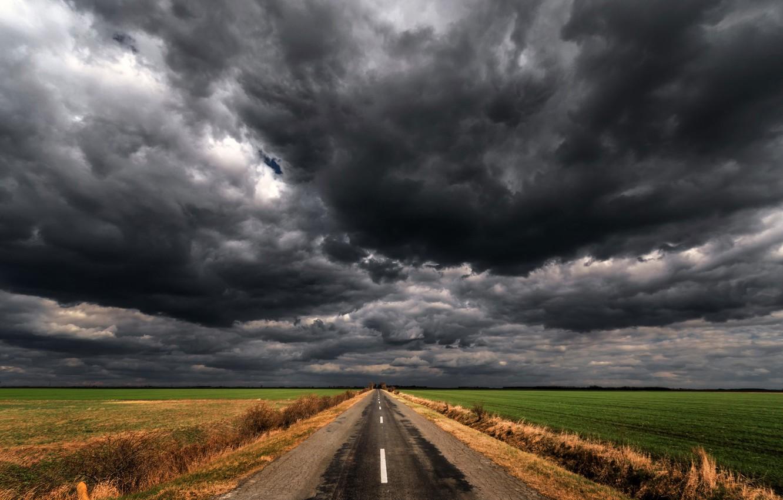 Photo wallpaper road, field, clouds
