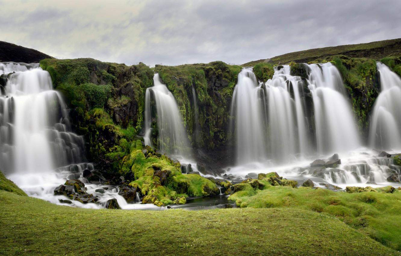 Photo wallpaper greens, the sky, stones, rocks, vegetation, waterfall, stream, waterfalls