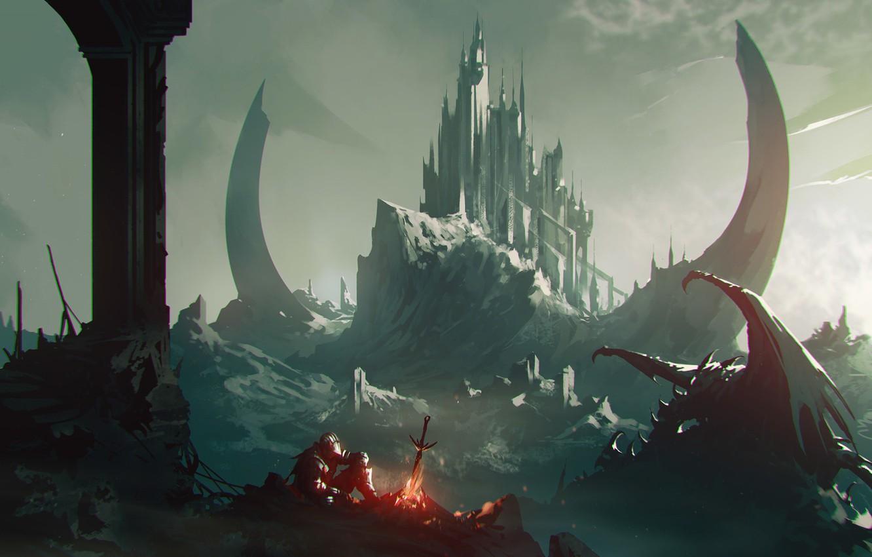 Photo wallpaper Dragon, Castle, The fire, Dragon, Art, Knight, Night, Fiction, Dark Souls, Omar Bronze, Halt, by …