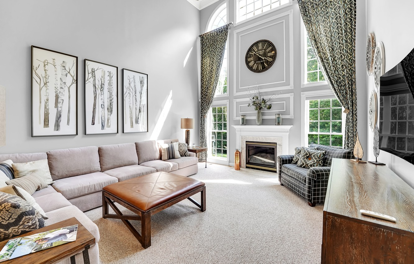 Photo wallpaper sofa, watch, Windows, pictures, fireplace, curtains, living room